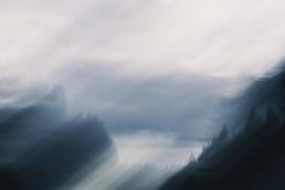 Tummansininen liike-epäterävä metsämaisema