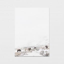 Minimalistinen taulu villihevosista syömässä vuoristossa